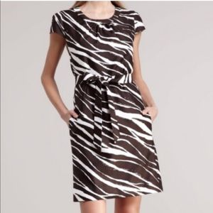 Kate Spade Joselle Dress Brown & White Zebra Print